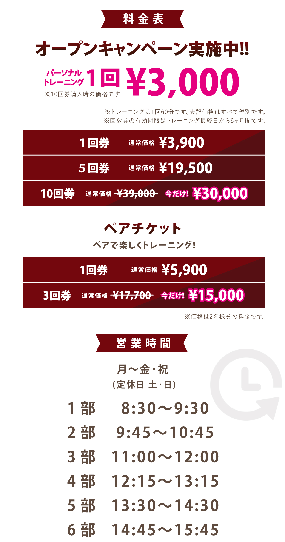 オープンキャンペーン実施中!!パーソナルトレーニング1回3000円。10回券購入時の価格です。トレーニングは1回60分です。表記価格は全て税別です。また、回数券の有効期限は購入から6ヶ月間です。1回券3900円、5回券19500円、10回券は通常39000円のところ今だけ30000円です。